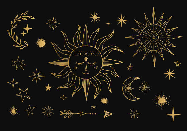 Vecteur soleil, lune, comète, signe du zodiaque. Illustration du ciel d'or. Conception de tatouage. - Illustration vectorielle