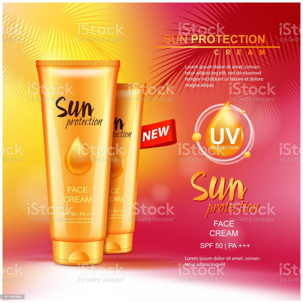 vector sun protection cosmetic products 3d illustration for magazine