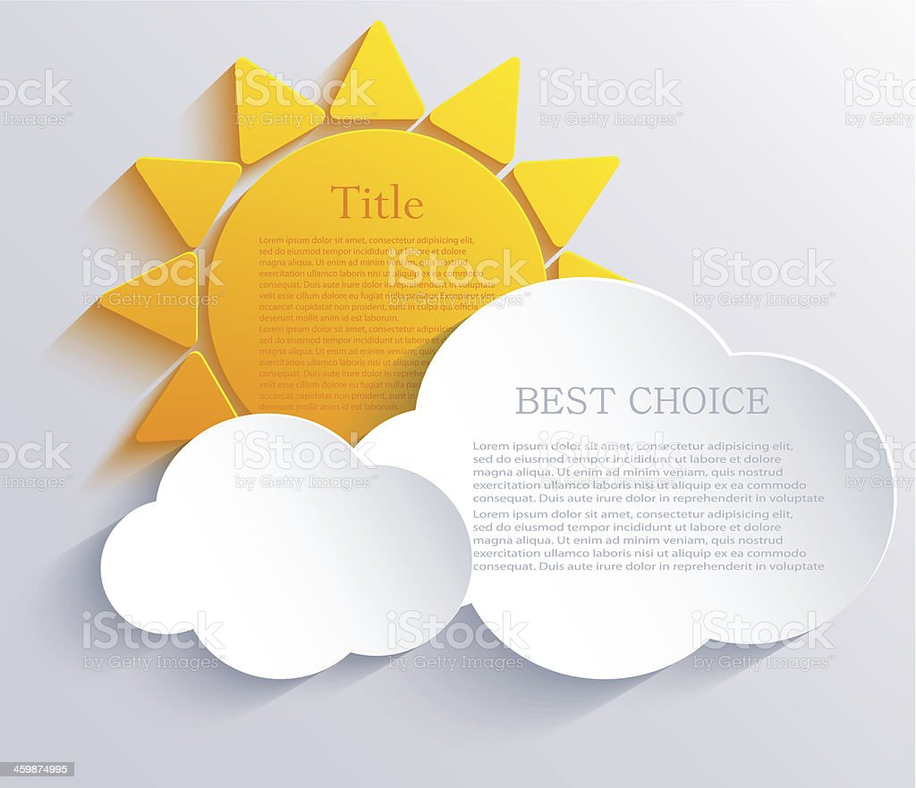 Vector sun with clouds background. Eps10 royalty-free stock vector art