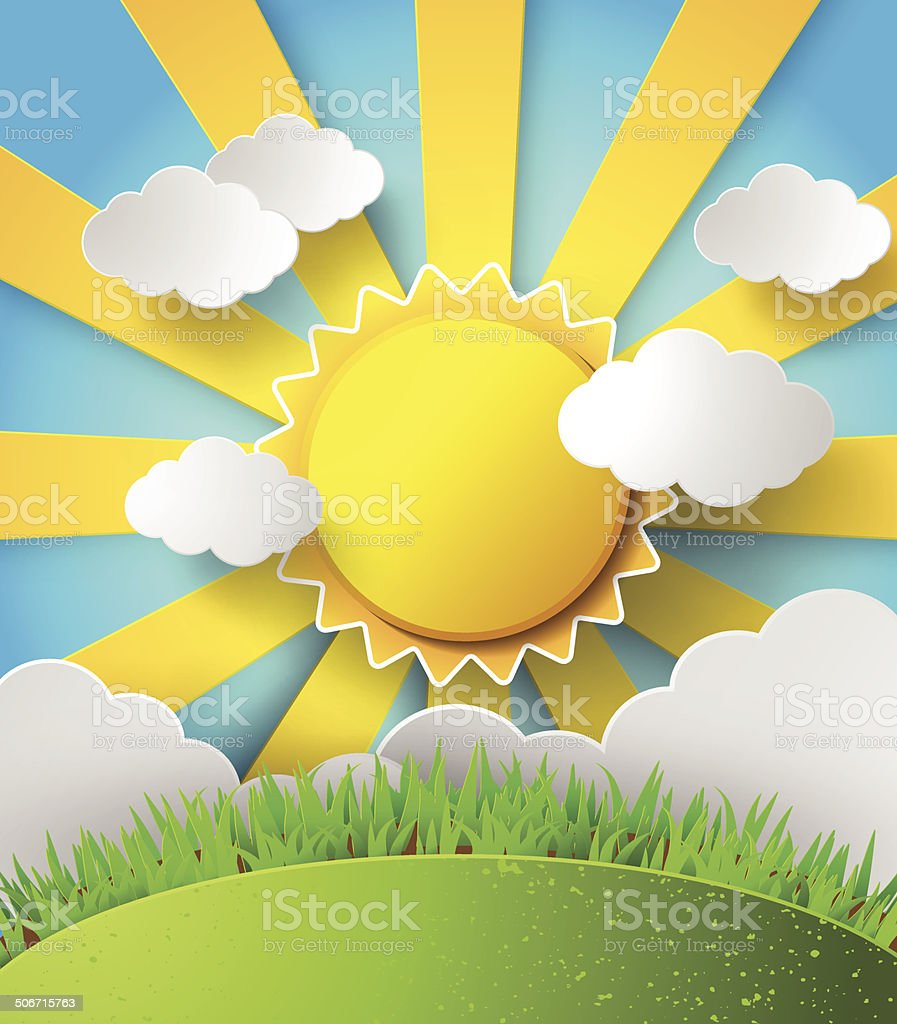 Vector sun with clouds background. royalty-free stock vector art
