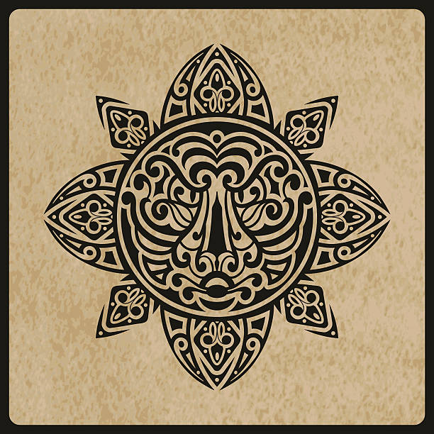 vector sun with tiger face in the centre vector sun with tiger face in the centre on rough paper texture,  tattoo sketch, Polynesian tattoo style maori tattoos stock illustrations