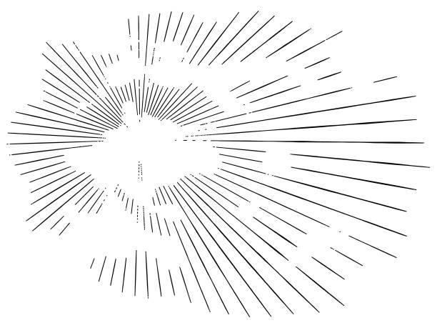 stockillustraties, clipart, cartoons en iconen met vector zonnestralen door wolken - houtgravure