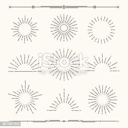 Set of vintage, hipster sunburst shapes. Shine sun ray set.  Sunset icon collection. Trendy hand drawn retro bursting rays design. Hipster banner elements.  Radiant sun flashes and geometric dividers. Vector illustration.