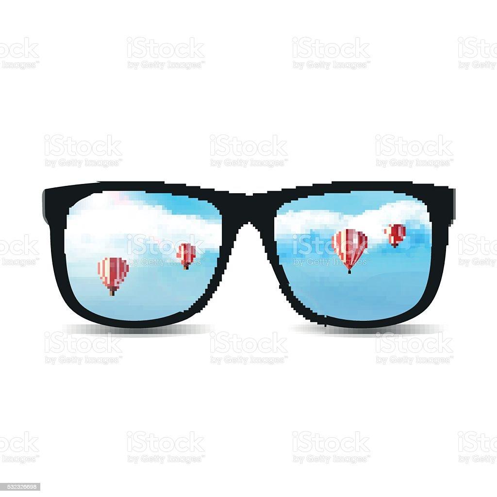 5855125b1ce61a Vecteur des lunettes de soleil avec un ciel bleu nuageux d été. vecteur des