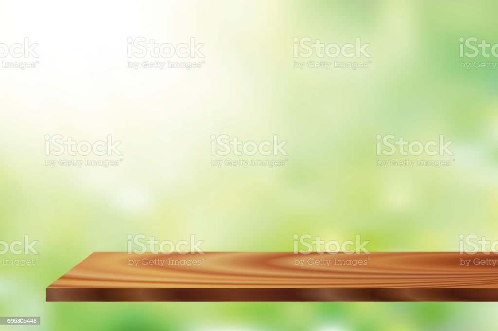 vector sunlight wood shelf vector art illustration