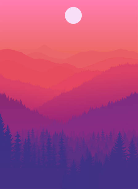 vector sunset in mountains forest vector sunset in mountains forest adventure backgrounds stock illustrations