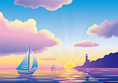 Vector sunset or sunrise seascape with sailboat and lighthouse. EPS10