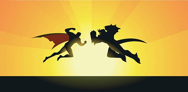 ベクトル supeheroes vs モンスターシルエット - 漫画のモンスター点のイラスト素材/クリップアート素材/マンガ素材/アイコン素材
