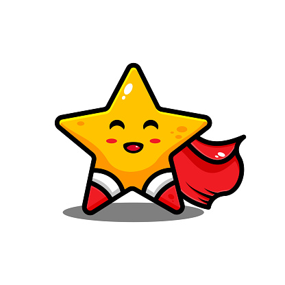 vector super hero star illustration design. The super hero star with an outline is suitable for stickers, icons, mascots, logos, clip art, and other graphic purposes