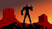 Vector Super Villain Silhouette with Valley Background