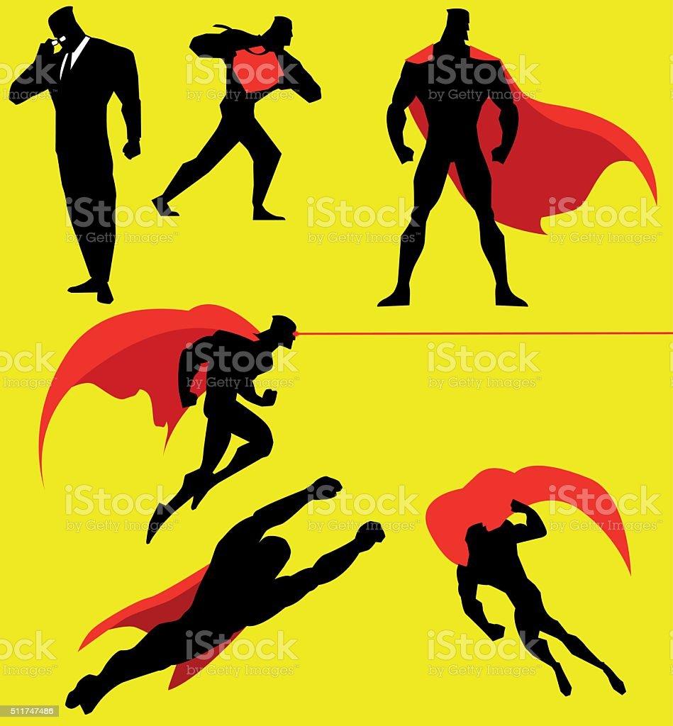 Vector Superhero Action Set vector art illustration
