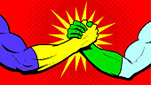 A retro pop art style illustration of two superheroes shaking hands bro-handshake style with halftone pattern in the background. Easy to edit.