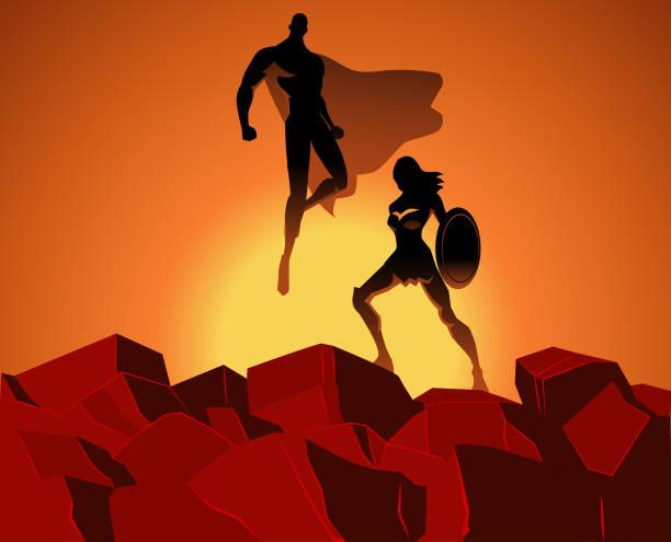 illustrations, cliparts, dessins animés et icônes de couple de super-héros vecteur sur le dessus de roches - époux