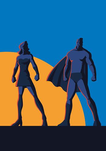 Vector Superhero Couple Retro Illustration