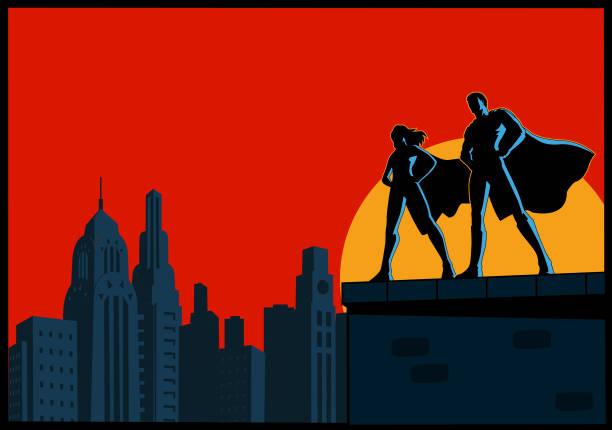 Vektor-Superhelden paar Silhouette stehend auf dem Dach mit Skyline Hintergrund – Vektorgrafik