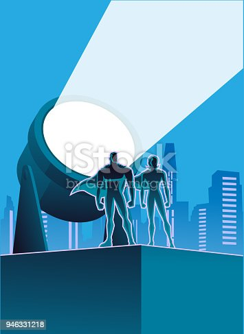 A vector silhouette style illustration of a couple of superheroes on a building rooftop with big searchlight and city skyline in the background. Put your logo or text on the searchlight or in other space available.
