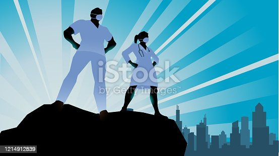 A silhouette style vector illustration of a team of doctors or healthcare workers standing on top of a cliff wearing medical face mask with city skyline in the background. Wide space available for your copy.