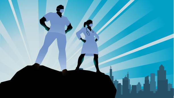 illustrations, cliparts, dessins animés et icônes de vector superhero doctor healthcare travailleurs silhouette stock illustration - medecin covid
