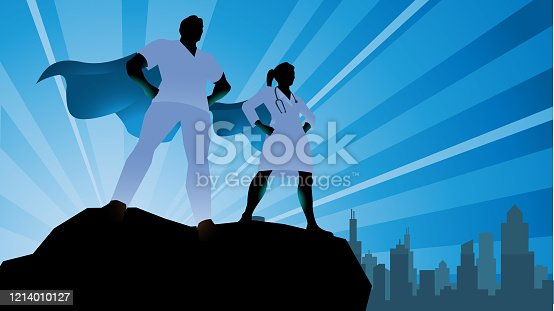 A silhouette style vector illustration of a team of doctors depicted as superheroes standing on a rock with city skyline in the background. Wide space availabke for your copy.