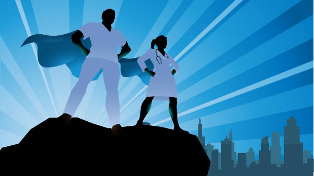 illustrazioni stock, clip art, cartoni animati e icone di tendenza di vector superhero doctor team silhouette stock illustration - personale medico