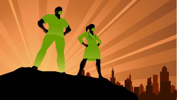 Vektor Superhelden Ärzte Silhouette Stock Illustration – Vektorgrafik