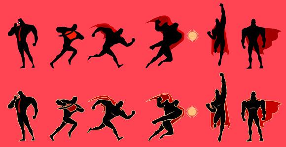 Vector Superhero Figure Silhouette Set