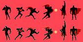 A set of silhouette illustrations of a superhero in many different poses. Easy to grab and edit.
