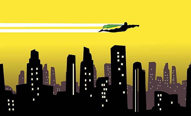 ベクトルスーパーヒーローの区間を街のシルエット - 漫画の風景点のイラスト素材/クリップアート素材/マンガ素材/アイコン素材