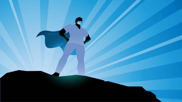 Vektor Superhelden Healthcare Arbeiter Silhouette Stock Illustration – Vektorgrafik