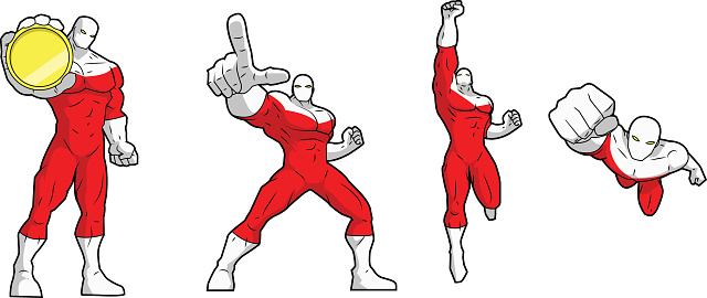 Vector Superhero in Action Isolated in White