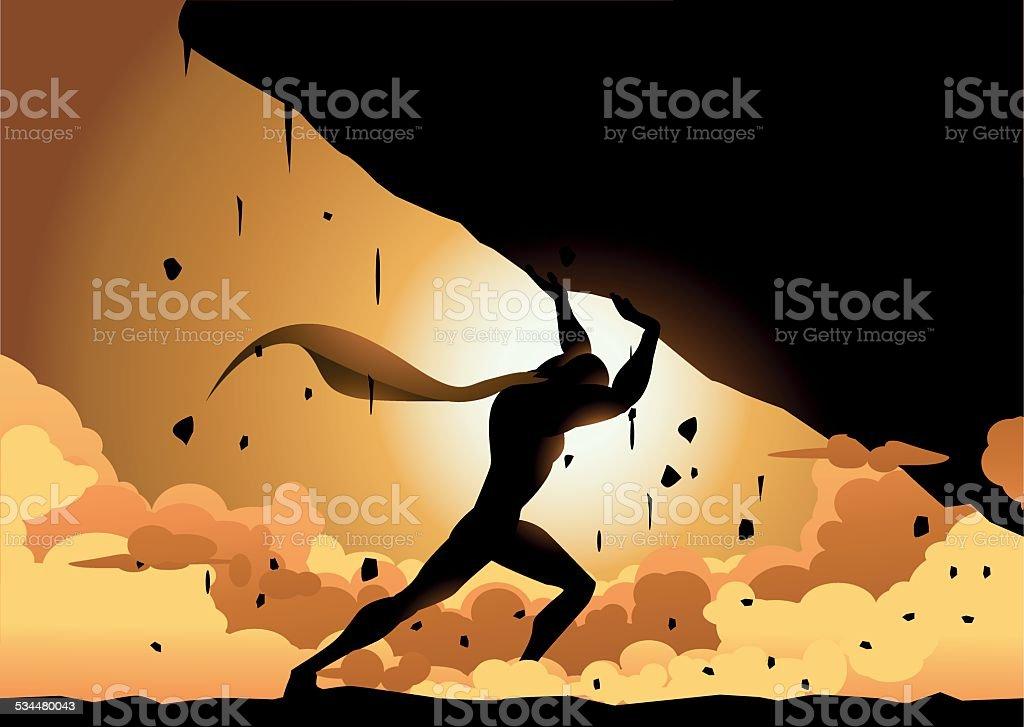 Vector Superhero Lifting a Heavy Rock Silhouette vector art illustration