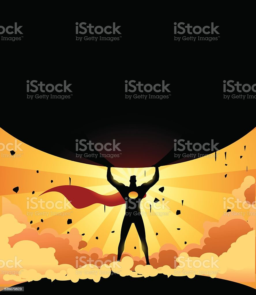 Vector Superhero Lifting a Heavy Rock Silhouette vector art illustration