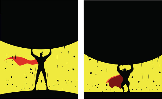 Vector Superhero Lifting Heavy Rock