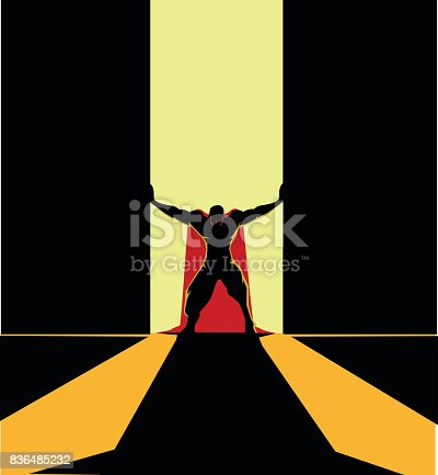 A vector silhouette illustration of a superhero opening a big door. Wide space available for your copy.
