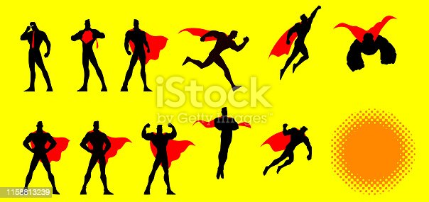 A set of vector illustrations of a superhero in many different poses. Isolated in yellow color, easy to grab and edit.