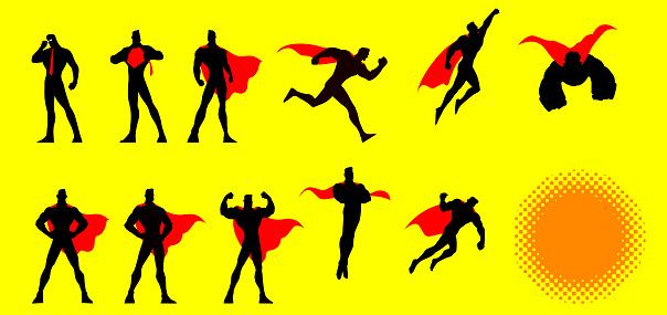 Vector Superhero Poses Set