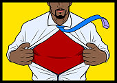 A comic book style vector illustration of a man ripping his shirt revealing a superhero costume inside. Put your text or logo on the chest.