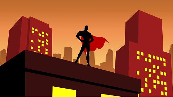 Vector Superhero Silhouette in a City Stock Illustration
