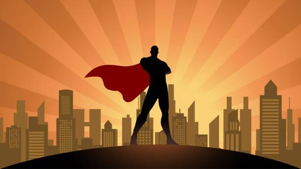Vektor-Superhelden-Silhouette in der Stadt Stock Illustration – Vektorgrafik
