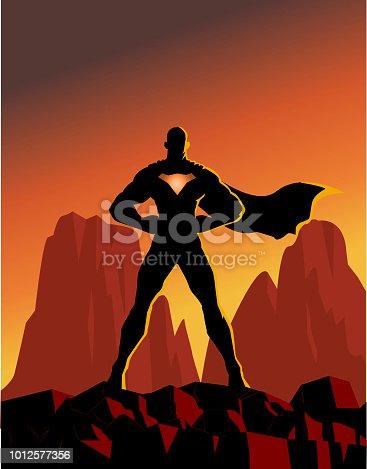 Vector Superhero Silhouette on a mountain