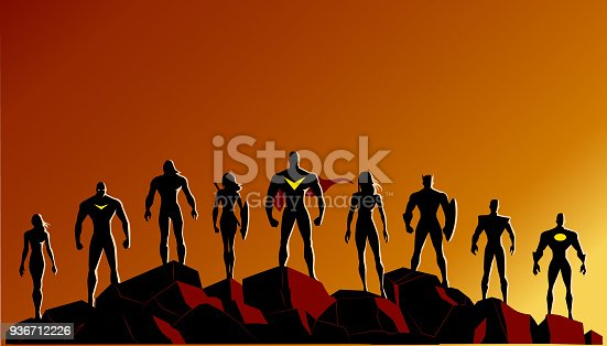 A set of silhouette style vector illustrations of superheroes team standing on rocks. Copy space available.