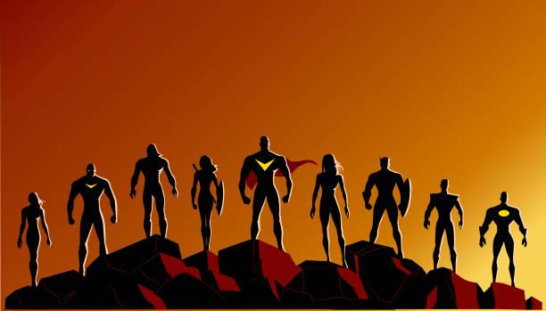 ilustrações, clipart, desenhos animados e ícones de vector super-herói silhueta conjunto permanente nas rochas - equipe esportiva