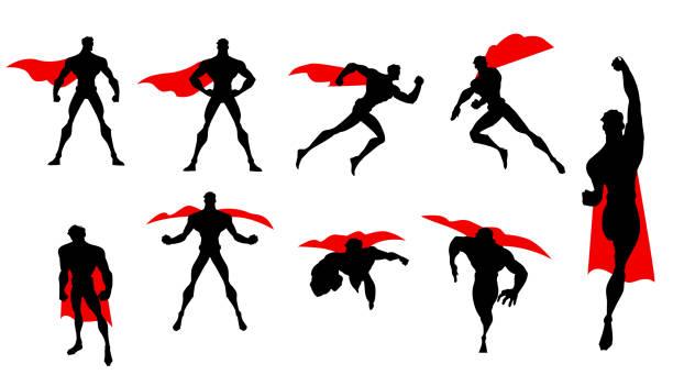 bildbanksillustrationer, clip art samt tecknat material och ikoner med vector superhjälte siluett set - superhjälte isolated
