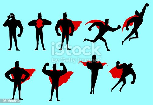 A set of vector illustration of superhero silhouette in many different poses. Easy to grab and edit.