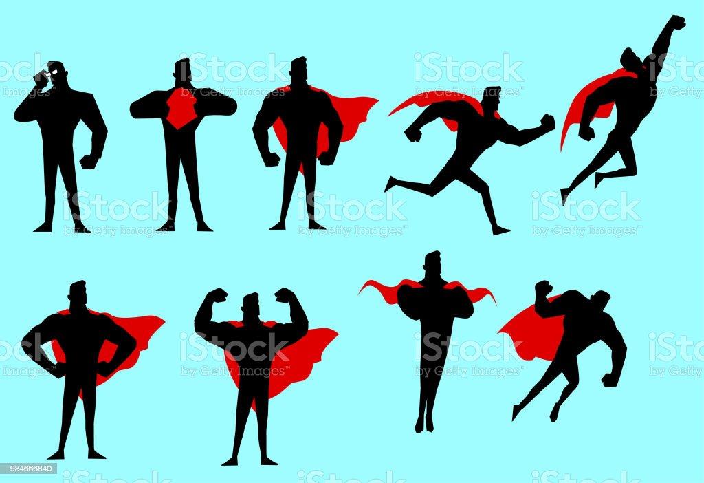 Vector Superhero Silhouette Set vector art illustration
