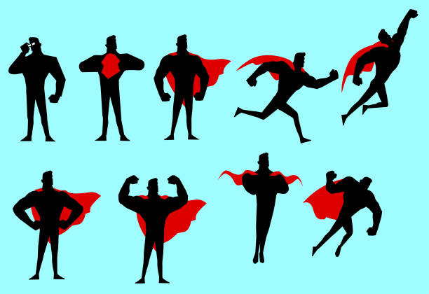 vektor-superhelden-silhouette-set - superhelden stock-grafiken, -clipart, -cartoons und -symbole