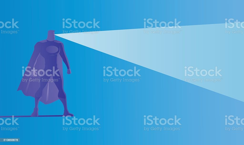 Vector Superhero Silhouette Shooting X-Ray Laser vector art illustration