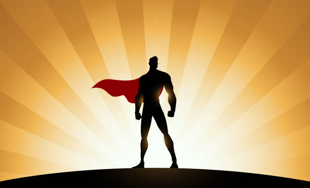 Vector Superhero Silhouette with Sunburst Effect Background A silhouette style illustration of a superhero standing with sunburst effect in the background. Easy to edit. Wide space available for your copy. one man only stock illustrations