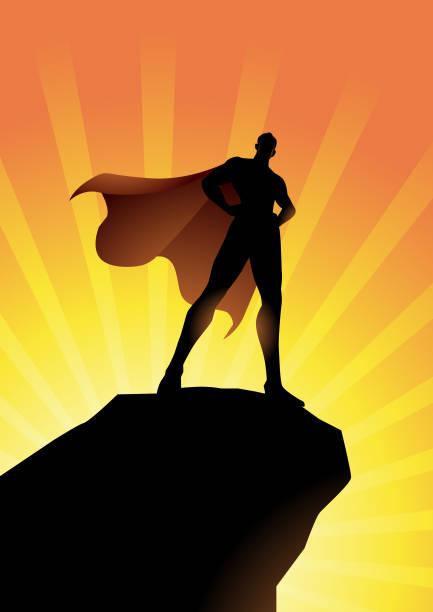 Vektor-Superhelden stehen auf einer Klippe Silhouette Illustration – Vektorgrafik