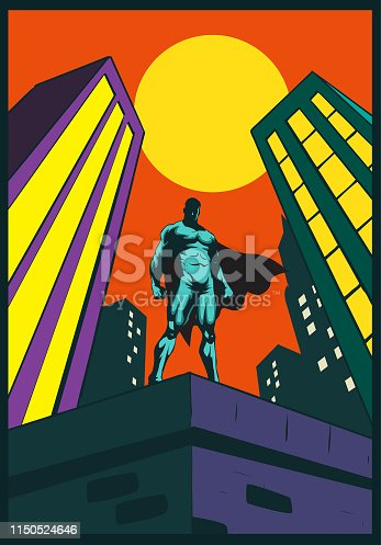A retro style vector illustration of a superhero standing on a rooftop a building with city skyscrapers in the background.